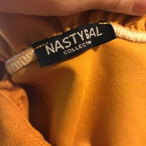 Nasty gal yellow off shoulder detailed top